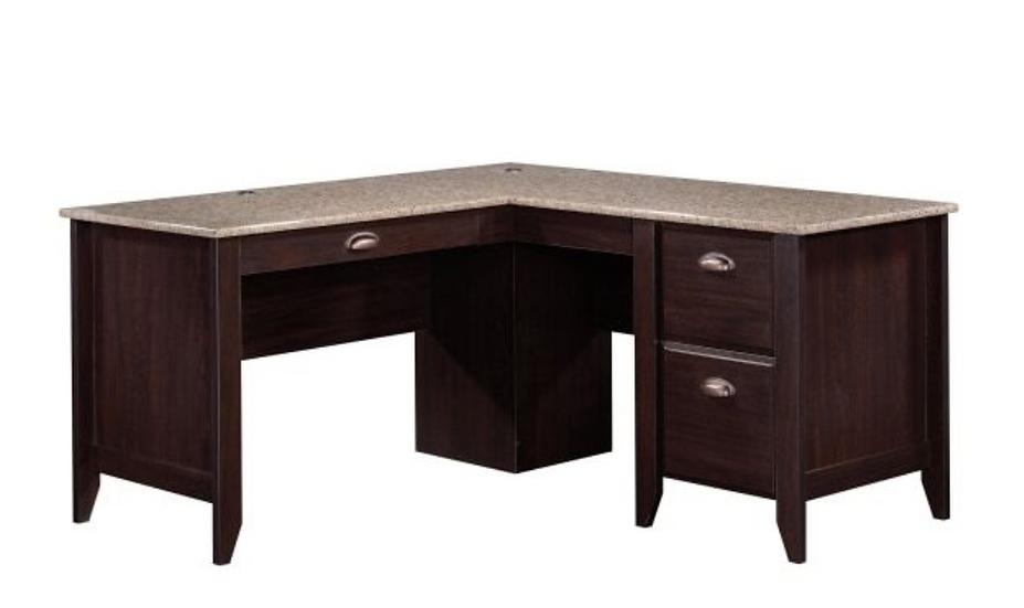 Sauder Samber L-Shaped Desk with Faux Granite Top (Jamocha)