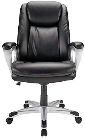 Realspace Tresswell Bonded Leather High-Back Chair, Black