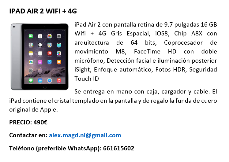 iPad Air 2 16 GB Wifi + 4G