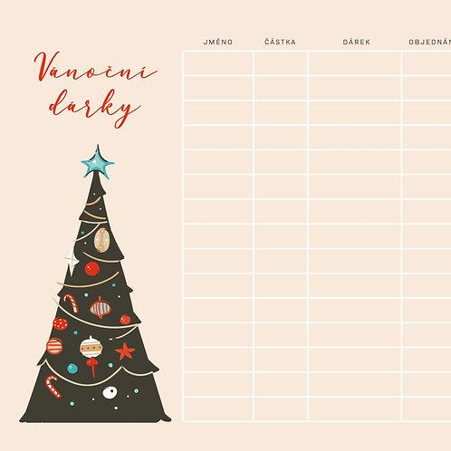 Vánoční seznam dárků