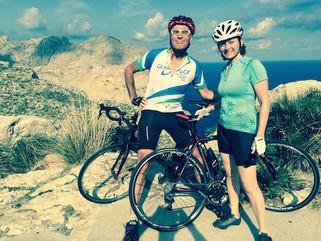 Barbara and Colin cycling Formentor
