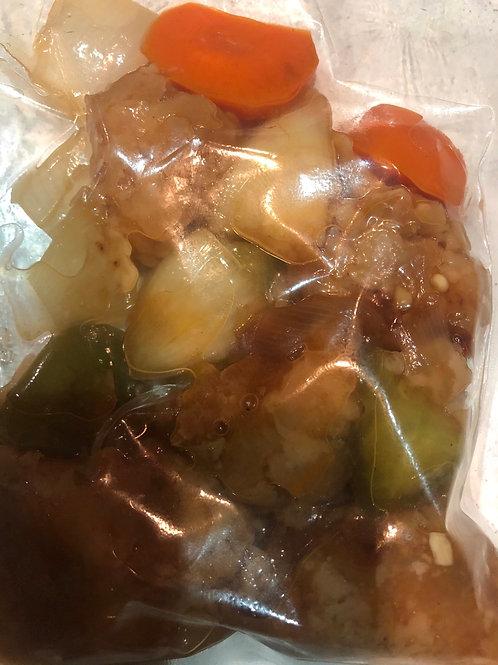 冷凍酢豚200g (豚肉、玉ねぎ、人参、ピーマン)sweet &sour pork(frozen in pouch)温めるだけ