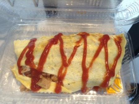 オムライス Ketchup taste chicken rice covered with egg