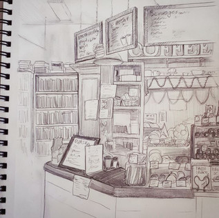 sketching Village Books & Coffee shop at
