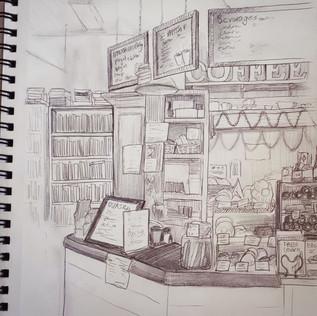 sketching Village Books & Coffee shop at