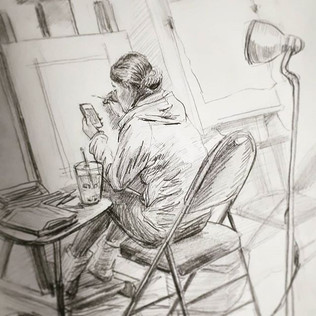 Sketch at the studio (of a fellow studen