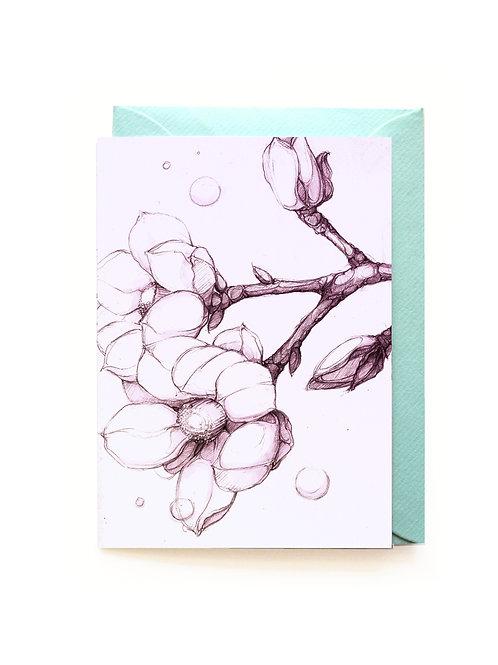 Magnolia Grusskarte A6, aufklappbar / Couvert C6
