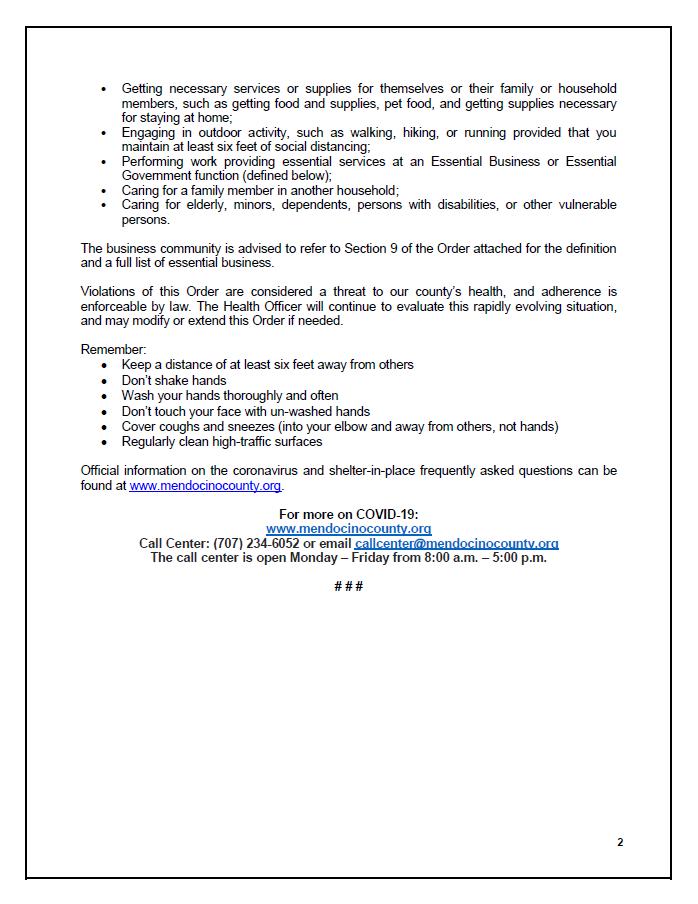 Coronavirus Information In Laytonville
