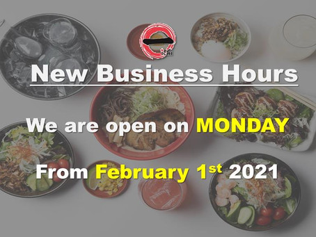 We are open on Monday from Feb 1st, 2021!