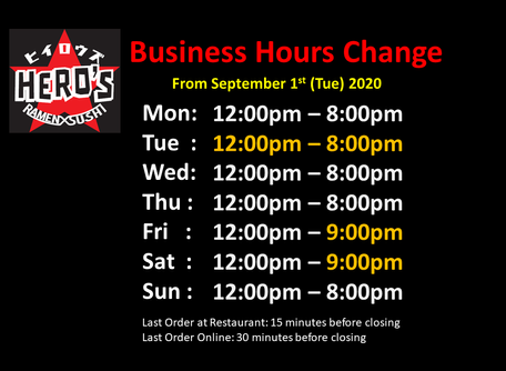 Our business hours will change from Sep 1st 2020.