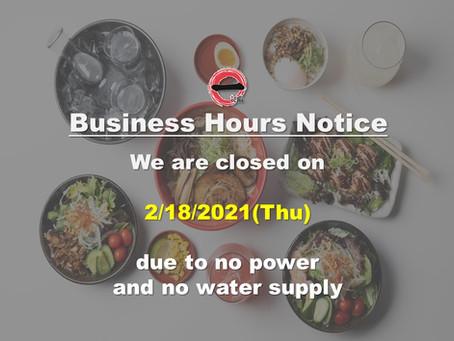 Ramen Bar Ichi Closed on 2/18(Thu)