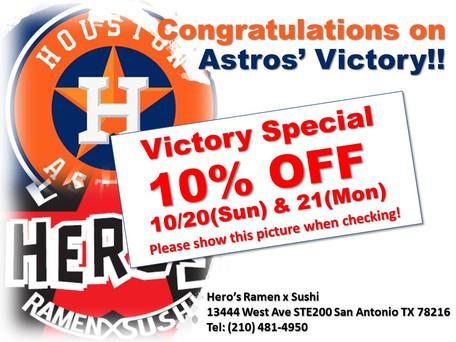 Astros Victory Special 10% OFF
