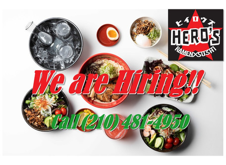 We are looking for servers, kitchen staffs, dishwashers and cashers.