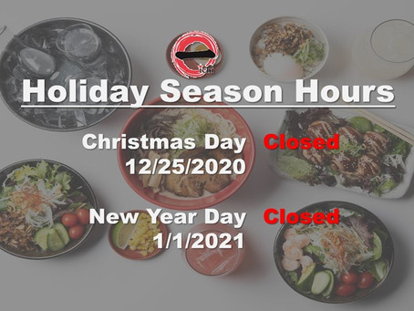 Ramen Bar Ichi Holiday Season's Business Hours