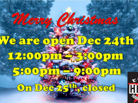 We are open today, Dec 24th!