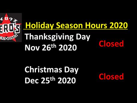 Holiday Seasons Closure 2020
