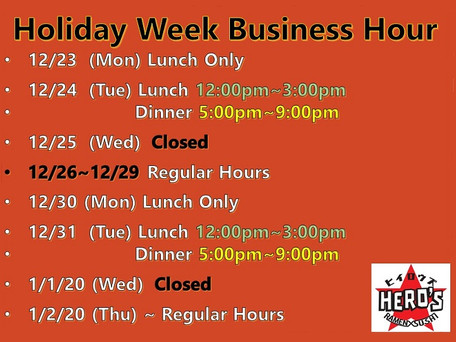 Holiday Week  Business Hours