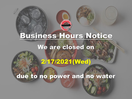 Ramen Bar Ichi is closed on 2/17(Wed)