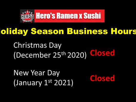 Holiday Season Business Hours