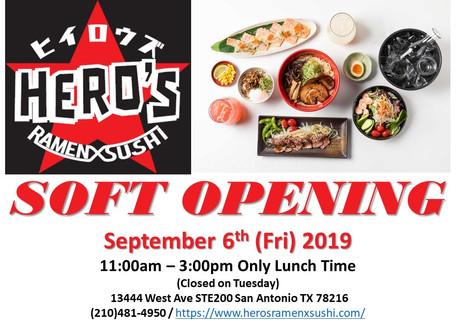 We will soft-open our restaurant on September 6th (Fri)!