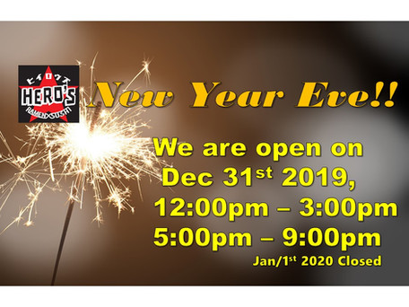 We are open today, Dec 31st, 2019!