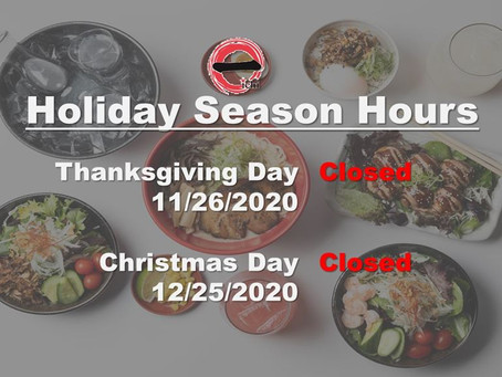 Holiday Seasons Closure 2020