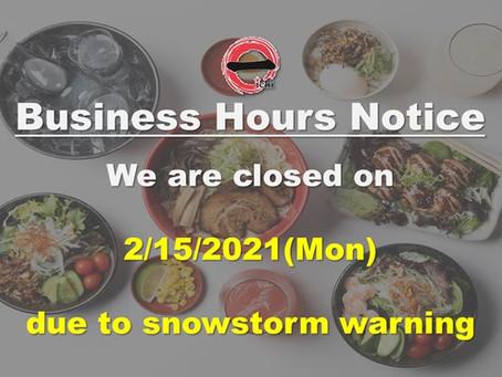 Ramen Bar Ichi is closed on 2/15/2021 (Mon)