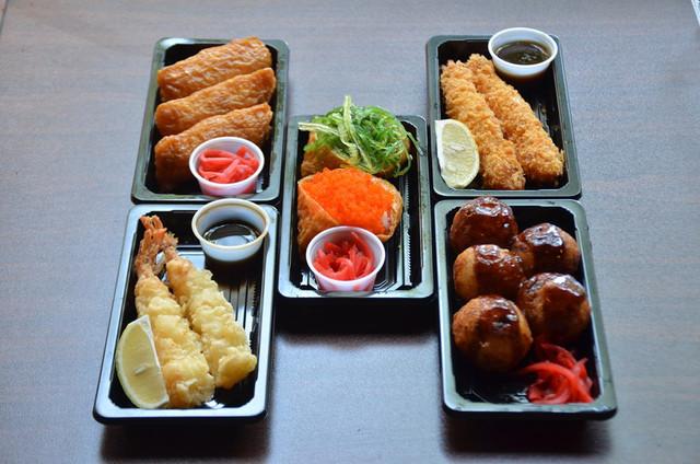 Takoyaki, Tempura, Shrimp Fry, Inari Sushi