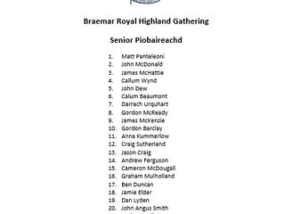 Senior Open Piping Draw - 2019 Braemar Gathering