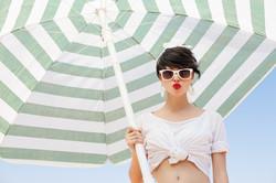 Beautiful woman with an umbrella