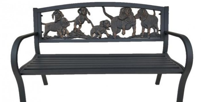 Cast iron puppies bench