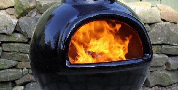 Sempra large Chimalin AFC chimenea in glazed black