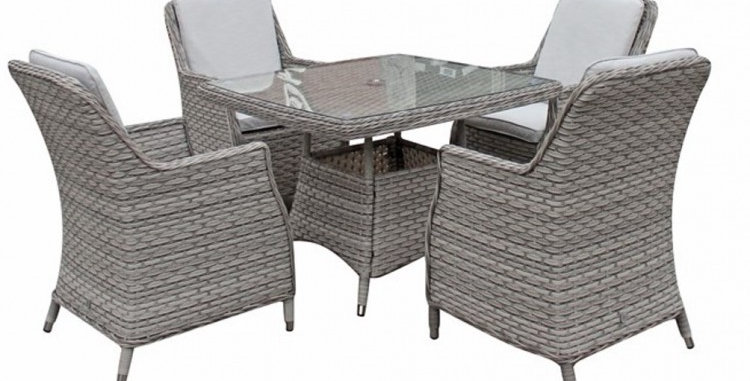Camden 4 seat set with parasol and base