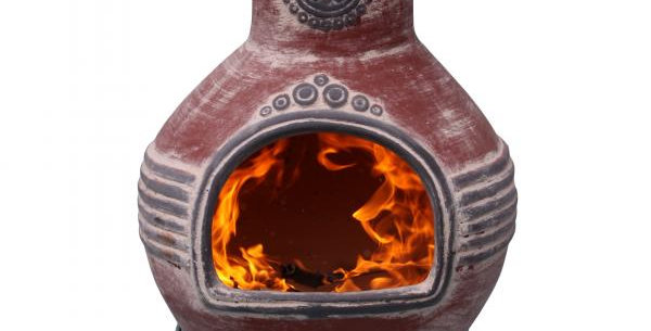 Azteca XL Mexican Chimenea (red and grey)