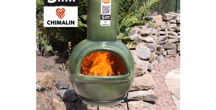 Sempra Large Glazed Green Chimenea