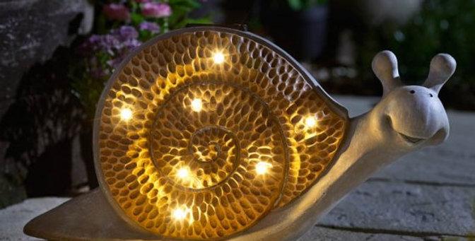 Solar Inlit Wooden Snail