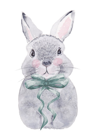 Bunny Bows - Fine Art Greeting Card