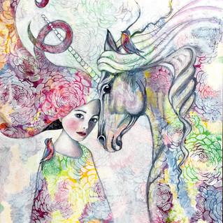 Unicorn love   Helen Platania Art