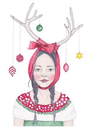 "Christmas artwork titled ""Miss Deer"" by Helen Platania"