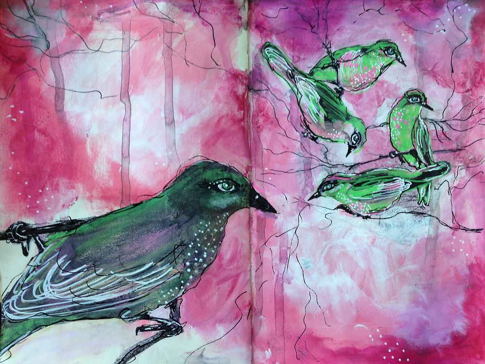 30 Day Art Journal Challenge, Helen Platania Art