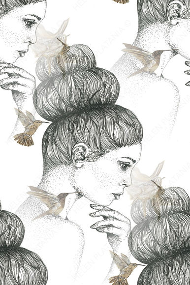 Art by Helen, thinking lady with small birds