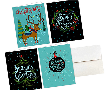 Merry Holiday Cards & Envelopes, 4 Designs, 5.5x8.5. (set of 36)