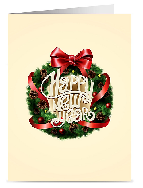 Happy New Year Cards & Envelopes,  5x7 (set of 18)
