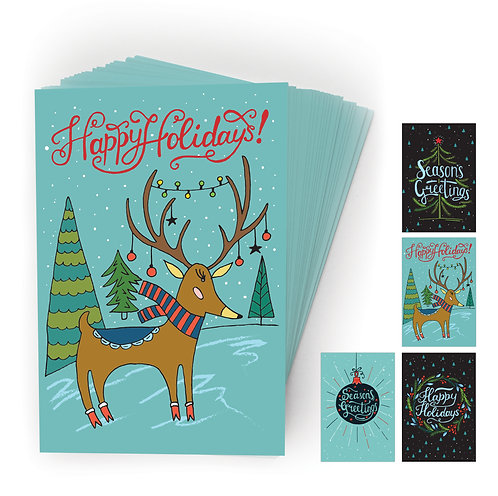 Merry Holiday Postcards, 4 Designs. (set of 40)