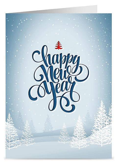 Winter White Happy New Year Cards & Envelopes,  5x7 (set of 18)