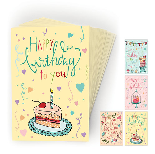 Whimsical, Happy Birthday Postcards, 4 Designs. (set of 40)