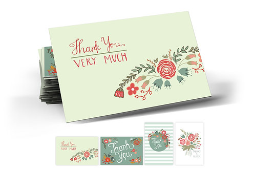 Floral Festival Thank You Postcards, 4 Designs. (set of 40)