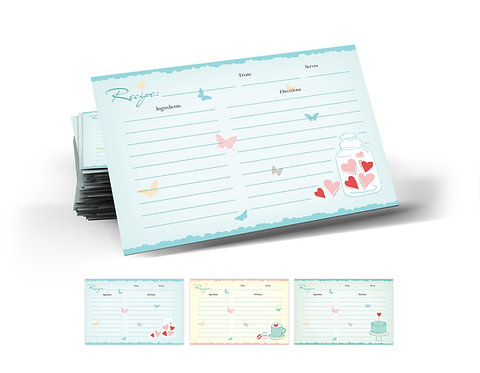 Butterfly Recipe Cards, Double Sided, 3 Designs. (set of 42)