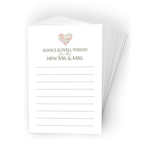 Floral Heart Wedding Advice Cards. (set of 40)