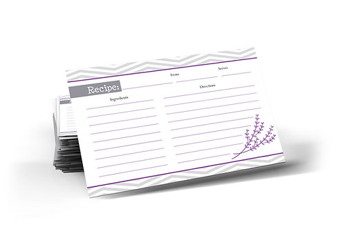 Chevron Recipe Cards, Double Sided. (set of 40)